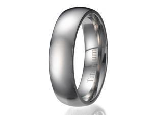 6mm Men's Plain Titanium Ring/ Wedding Band Sizes 9 to 13