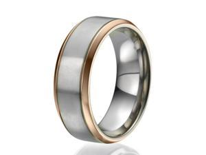 8mm Titanium Ring with 2 narrow stripes plated with rose gold on the sides