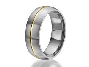 8mm domed Titanium Ring with a centered stylish stripe plated with yellow gold