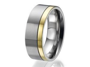 8mm flat Titanium Ring with a stylish narrow yellow gold plated stripe