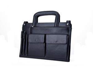 Professional, Smooth Leather Laptop and Tablet Case with Organizer and Handle, Black
