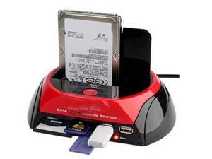 "879U2C SATA HDD Docking Station 3.5"" / 2.5"" HDD Dock Case 2 ports USB HUB CF SD MS XD Card Reader Backup"