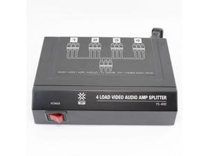 1 In 4 Out 4 Port RCA Audio Video Amplifier Splitter YS400 4 Load Video Audio Amp Splitter Distribution box for TV DVD LCD