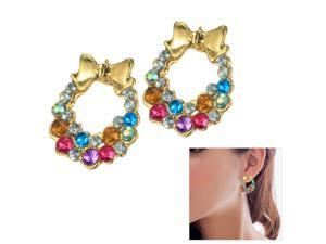 Merdia EPEW21C3 Vintage Colorful Loop Golden Bowknot Ear Studs