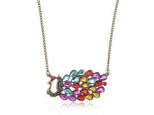 Merdia PPEW14C9 Vintage Colorful Acrylic Peacock Pendant Sweater Chain Necklace