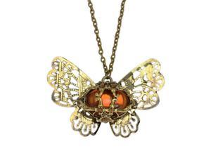 Merdia PPEW15C99 Vintage Antique Bronze Buttefly Pendant Sweater Chain Necklace