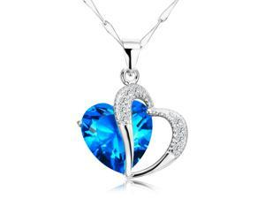 Merdia PSIW21C5 Rhodium Plated Elegant S925 Sterling Silver Diamond Accent Heart Zirconia Pendant Necklace 18""