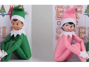 The Elf On The Shelf Cute Home Decoration Elf Plush Dolls Boy Girl Figure Christmas Decoration 37cm Plush Toys Gifts- includes one green Boy and one pink Girl