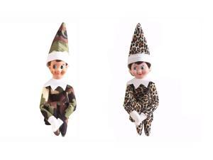 The Elf On The Shelf Cute Home Decoration Elf Plush Dolls Boy Girl Figure Christmas Decoration 37cm Plush Toys Gifts- includes one camouflage Boy and one leopard Girl