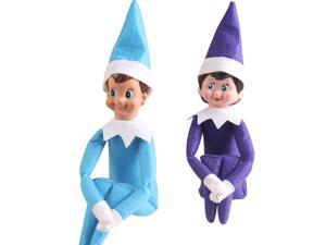 The Elf On The Shelf Cute Home Decoration Elf Plush Dolls Boy Girl Figure Christmas Decoration 37cm Plush Toys Gifts- includes one blue Boy and one purple Girl