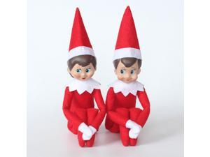 The Elf On The Shelf Cute Home Decoration Elf Plush Dolls Boy Girl Figure Christmas Decoration 37cm Plush Toys Gifts- includes one  red Boy and one red Girl