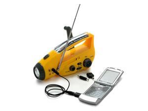 Bear Motion (TM) Self-Powered Dynamo AM/FM Radio with Flashlight, Solar Power and Cell Phone Charger (Yellow)