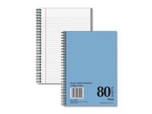 Mead MEA06542 Spiral Notebook- College Ruled- 7in.x5in.- 80 Sheets- Blue Cover