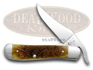CASE XX Embellished Sawcut Antique Bone Russlock Pocket Knife Knives