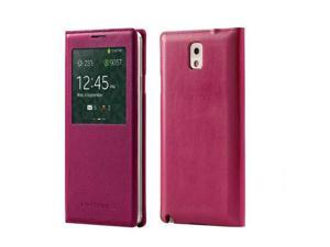 S-View Wallet Cover Folio Case for Samsung Galaxy Note 3 - Hot Pink