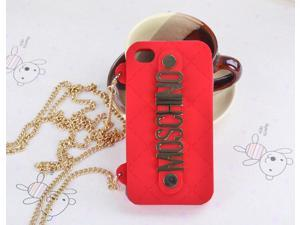 MOSCHINO Fashion Silicone Soft Black Case Cover For Apple iPhone 5G With Chain Holder