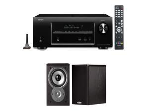 Denon AVR-E400 7.1 Channel 4K / 3D Networking Home Theater Receiver With (1) Pair of Polk Audio TSi100 Bookshelf Speakers