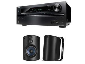 Onkyo TX-NR525 5.2 Channel Network A/V Receiver Plus (1) Pair of Polk Audio Atrium 5 All-Weather Speakers (Black)