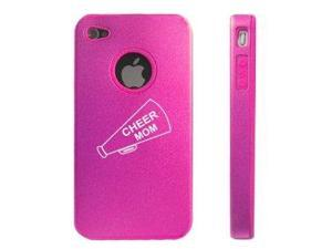 Apple iPhone 4 4S Hot Pink D4656 Aluminum & Silicone Case Cover Cheer Mom Megaphone