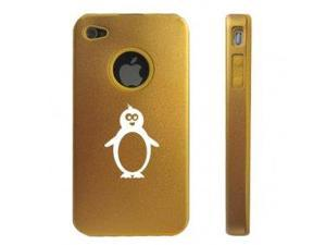 Apple iPhone 4 4S 4G Gold D213 Aluminum & Silicone Case Penguin