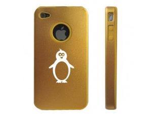 Apple iPhone 4 4S 4G Gold D213 Aluminum & Silicone Case Penguin