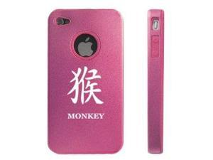 Apple iPhone 4 4S 4G Pink D930 Aluminum & Silicone Case Cover Chinese Character Monkey