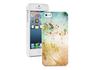 Apple iPhone 4 4S 4G White 4W364 Hard Back Case Cover Color Tropical Beach Flamingo Grunge Paper