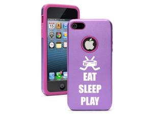 Apple iPhone 5 Purple 5D2355 Aluminum & Silicone Case Cover Eat Sleep Play Hockey