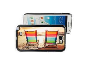 Samsung Galaxy Note 2 II Black Hard Case Cover FB96 Color Beach Chairs in Sunset