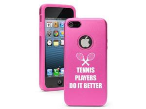 Apple iPhone 5 Hot Pink 5D2308 Aluminum & Silicone Case Cover Tennis Players Do it Better