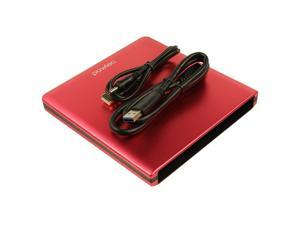 Pawtec Slim Aluminum USB 3.0 External Enclosure For Optical SATA Drive Blu-Ray DVD MAC / PC (Red)