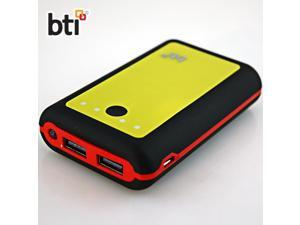 BTI 7800mAh Powerbank for HTC One XL with LED Flashlight - Black Color, Red Trim, Yellow Face