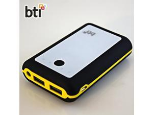 BTI 7800mAh Powerbank for HTC Sensation XL with LED Flashlight - Black Color, Yellow Trim, White Face
