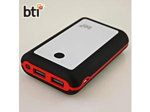 BTI 7800mAh Powerbank for Motorola Atrix TV XT687 with LED Flashlight - Black Color, Red Trim, White Face