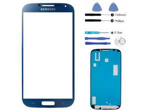 Samsung Galaxy S4 SIV i9500 Dark Blue Glass Lens Touch Screen Display Replacement Part (LCD & Digitizer not included) + Adhesive ...