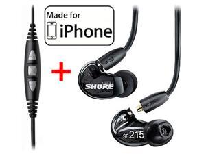 Shure SE215 Earphones (Black) and CBL-M-+K Music Phone Cable for iPhone iPode and iPad