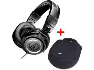 Audio-Technica ATH-M50s Studio Monitor Headphones w/ Straight Cable & UDG U8200BL Large Headphone Hardcase Black - Bundle