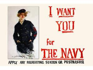 Buyenlarge - 22103-8CG28 - I want you for the Navy Apply any recruiting station or postmaster 28x42 Giclee on Canvas