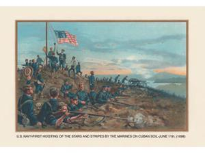 Buyenlarge - 03453-XCG28 - Hoisting of the Stars and Stripes on Cuban Soil June 11 1898 28x42 Giclee on Canvas