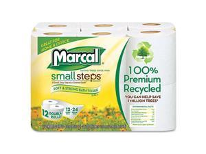 Marcal Paper - MAC 6112 - Small Steps 100% Recycled Double Roll Bathroom Tissue, 12 Rolls/Pack, 6 PK/CT