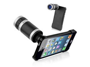 8x Optical Zoom Lens Telescope with Back Case for iPhone 5 - Black + Silver