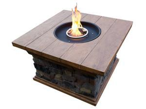 Hiland Faux Stone Firepit Table with Wood Finish Top