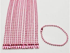 Pink 2.4 mm Diameter Ball Chain 145 mm Length Metal Bead Chain for Pendant Pack of 20