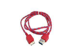 Smays 1m RED USB 3.0 A Male to Micro B Male data charge cable with sleeve for Galaxy Note3 N9000 N900