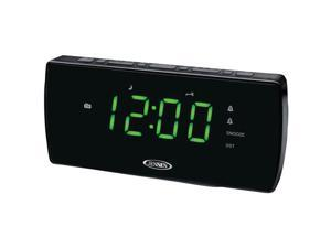 JENSEN AM/FM Clock Radio with Dual Alarm, Auto Time Set/Restore, Battery Backup and Aux Input JCR-230