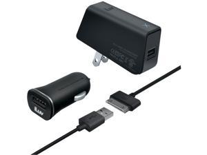 iLuv IAD568BLK MobiSeal Black Deluxe Combo USB Charging Kit For iPad/iPhone/iPod