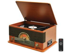 Retro-Style Bluetooth(R) Turntable with Vinyl to MP3 Recording, CD Player & Cassette Player (Wood Style) - PTCD56UBWD
