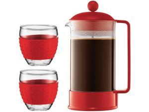 Bodum Brazil French Press Coffee Maker Red with 2 Silicon Sleeve Glasses