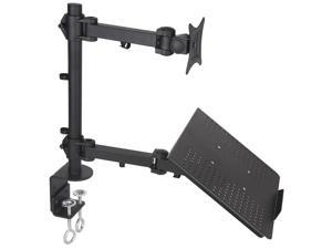 Dual Mount for 1 Laptop & 1 LCD Monitor, Desktop Mount / Stand, Black, Adjustable, Model STAND-V002C by VIVO