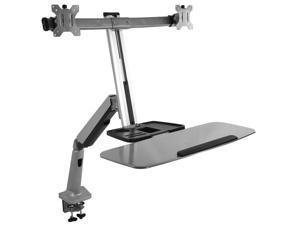 VIVO Dual Monitor & Keyboard Counterbalance Sit-Stand Desk Mount | Standing Transition Workstation (STAND-SIT2S)